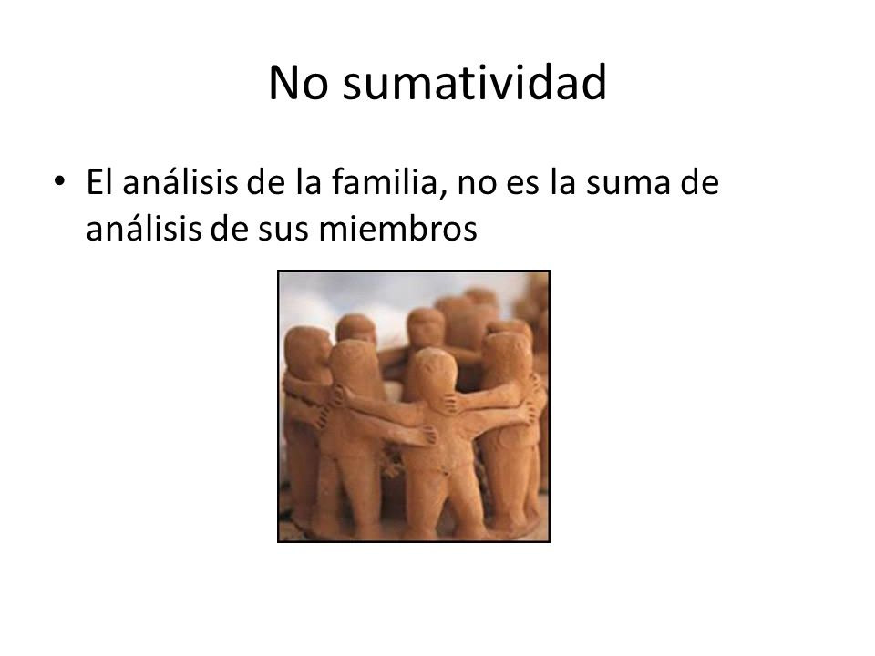 No sumatividad El análisis de la familia, no es la suma de análisis de sus miembros