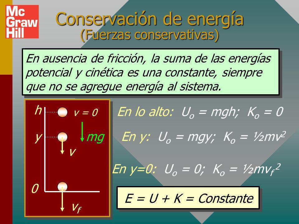 Conservación de energía (Fuerzas conservativas)