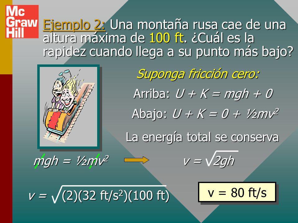 Ejemplo 2: Una montaña rusa cae de una altura máxima de 100 ft