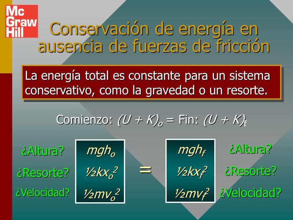 Conservación de energía en ausencia de fuerzas de fricción