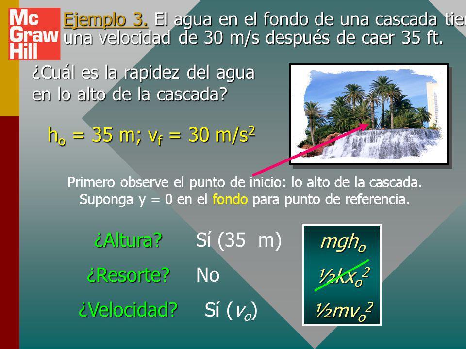 ho = 35 m; vf = 30 m/s2 ¿Altura ¿Resorte ¿Velocidad Sí (35 m) mgho