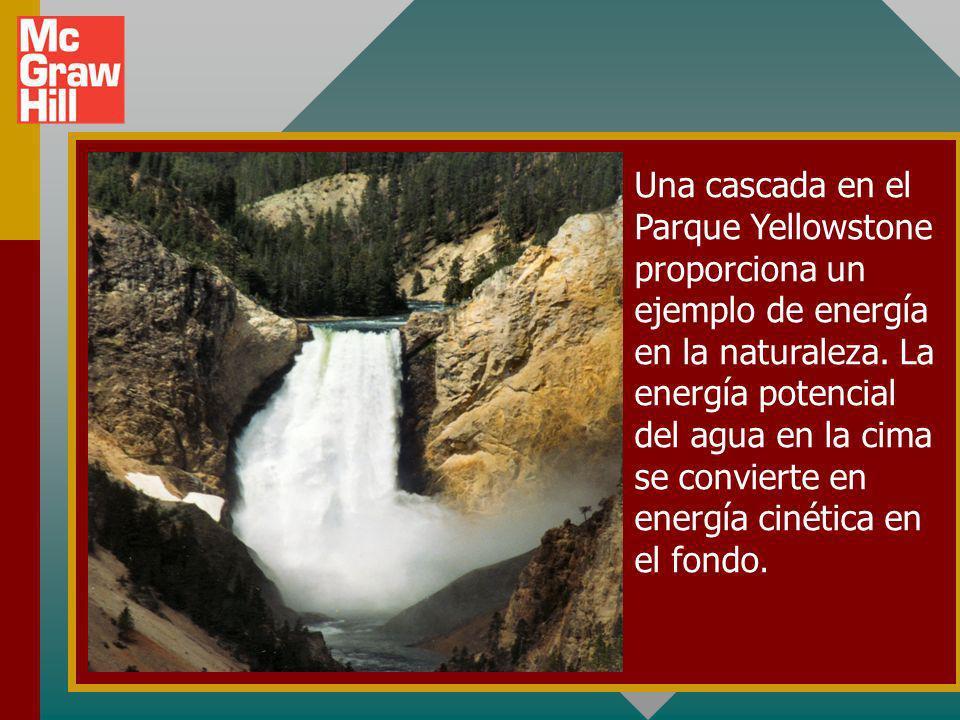 Una cascada en el Parque Yellowstone proporciona un ejemplo de energía en la naturaleza.