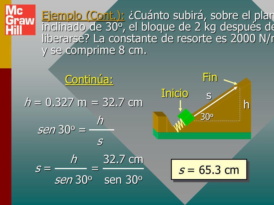 Ejemplo (Cont.): ¿Cuánto subirá, sobre el plano inclinado de 30o, el bloque de 2 kg después de liberarse La constante de resorte es 2000 N/m y se comprime 8 cm.