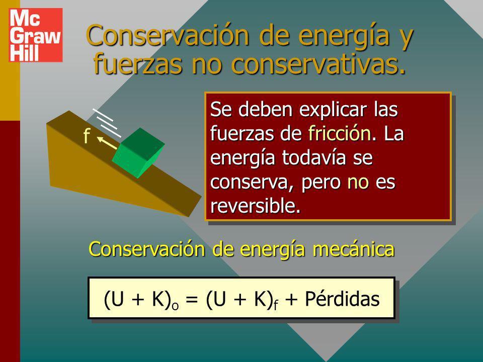 Conservación de energía y fuerzas no conservativas.