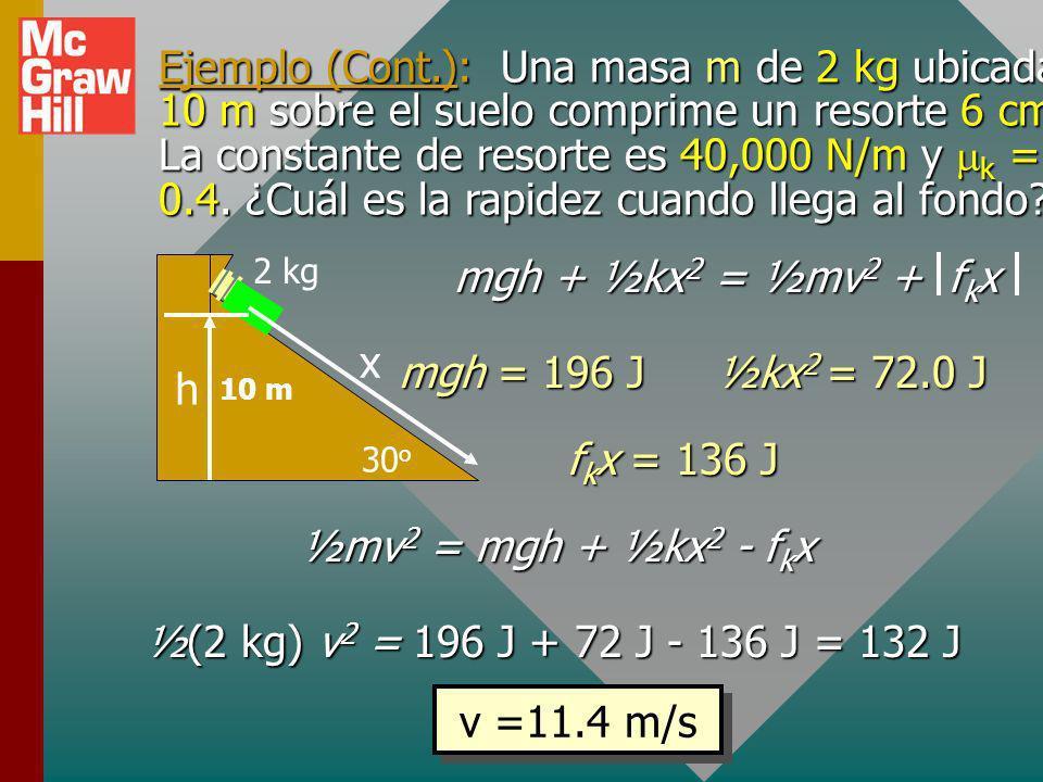 Ejemplo (Cont.): Una masa m de 2 kg ubicada 10 m sobre el suelo comprime un resorte 6 cm. La constante de resorte es 40,000 N/m y mk = 0.4. ¿Cuál es la rapidez cuando llega al fondo