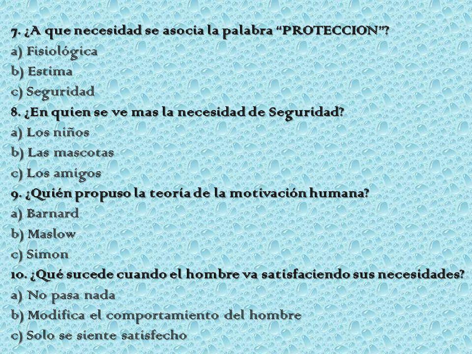 7. ¿A que necesidad se asocia la palabra PROTECCION