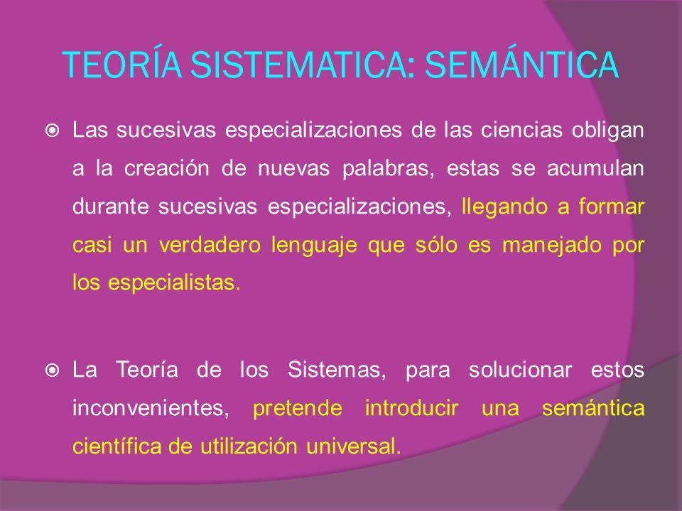 TEORÍA SISTEMATICA: SEMÁNTICA