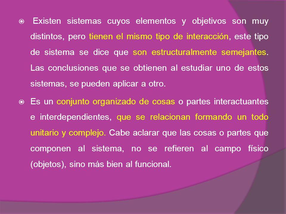 Existen sistemas cuyos elementos y objetivos son muy distintos, pero tienen el mismo tipo de interacción, este tipo de sistema se dice que son estructuralmente semejantes. Las conclusiones que se obtienen al estudiar uno de estos sistemas, se pueden aplicar a otro.