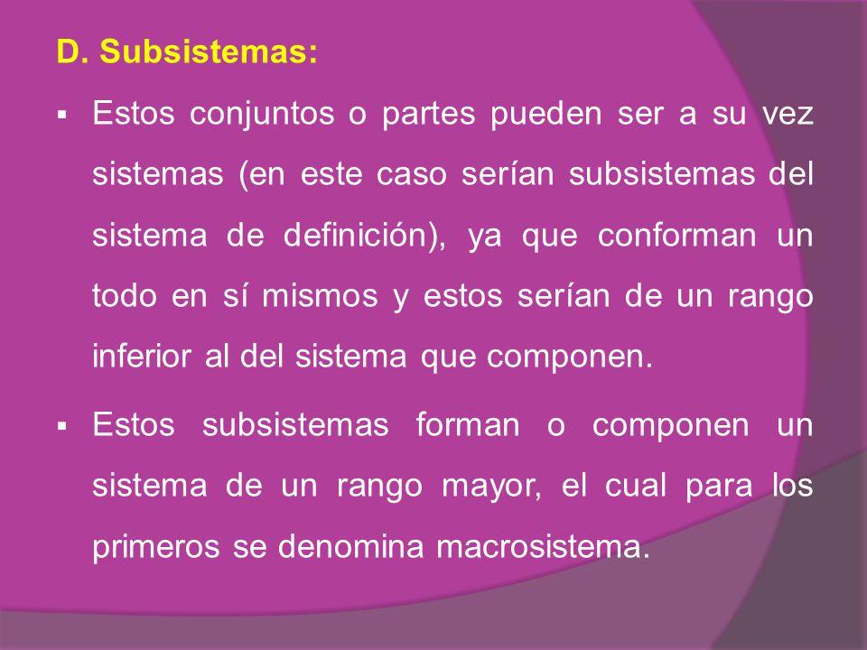 D. Subsistemas: