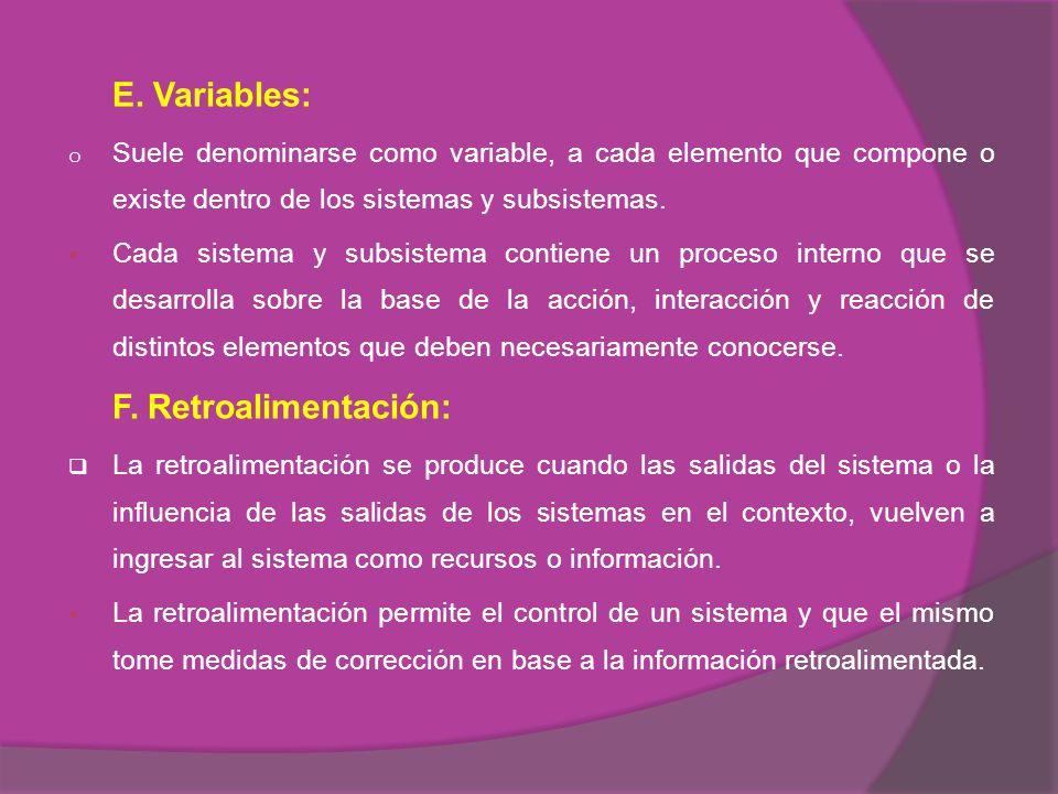 E. Variables: Suele denominarse como variable, a cada elemento que compone o existe dentro de los sistemas y subsistemas.