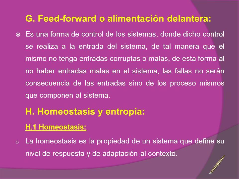 G. Feed-forward o alimentación delantera: