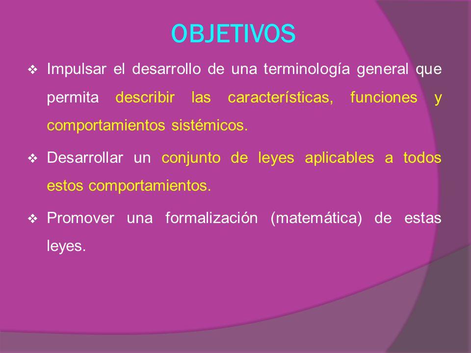 OBJETIVOS Impulsar el desarrollo de una terminología general que permita describir las características, funciones y comportamientos sistémicos.