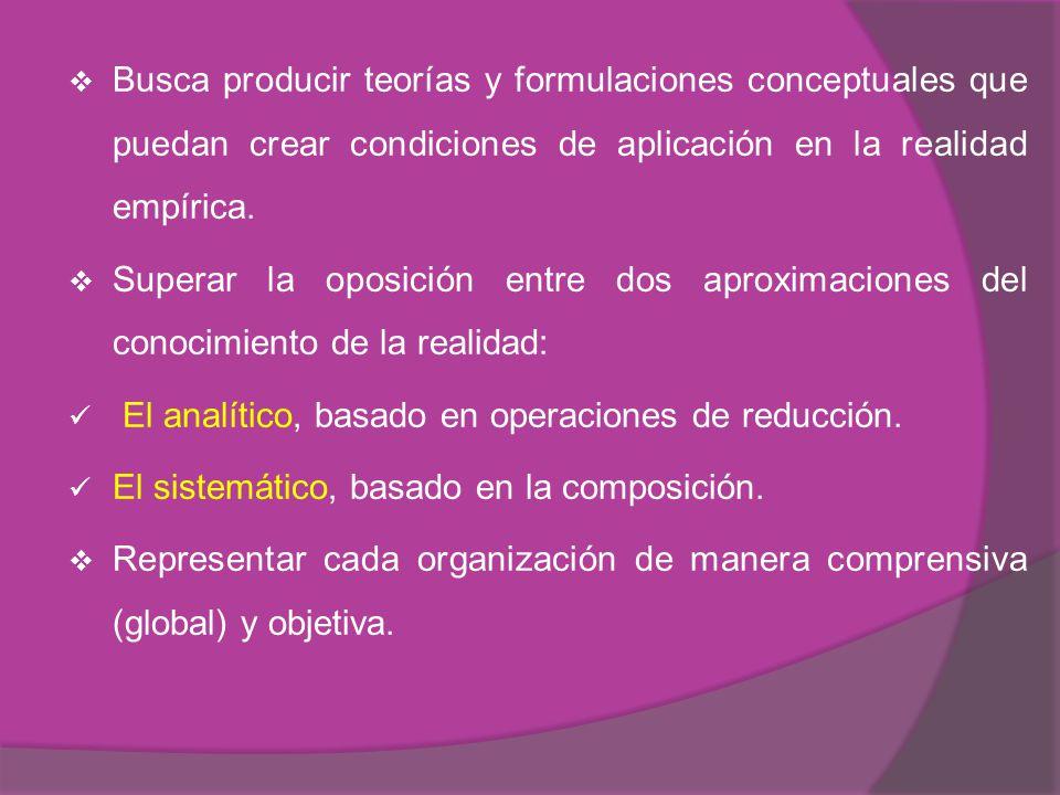 Busca producir teorías y formulaciones conceptuales que puedan crear condiciones de aplicación en la realidad empírica.