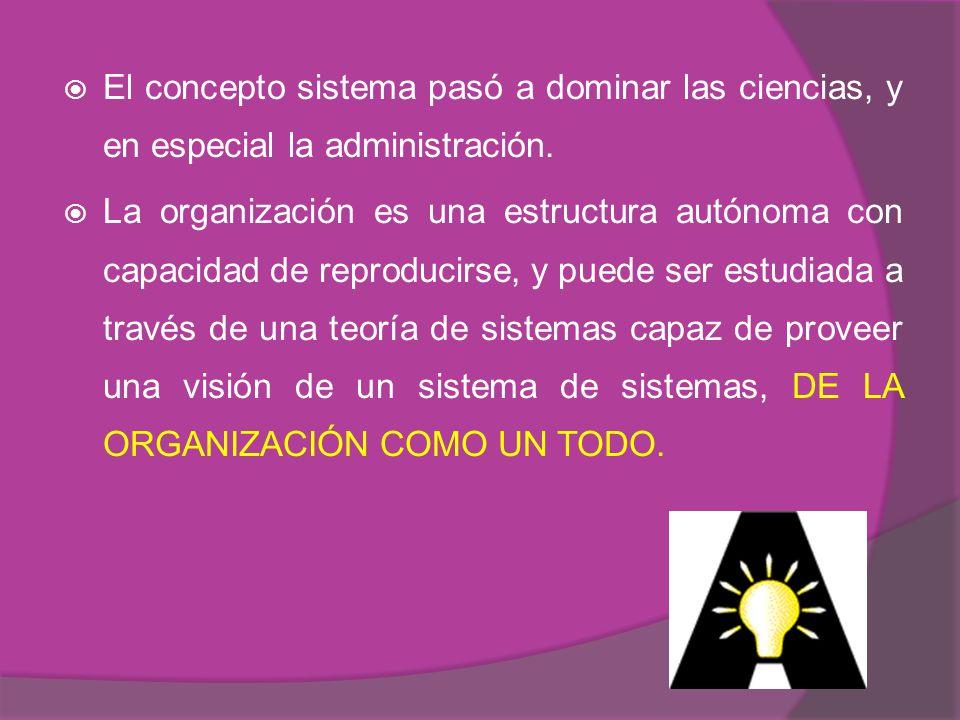 El concepto sistema pasó a dominar las ciencias, y en especial la administración.
