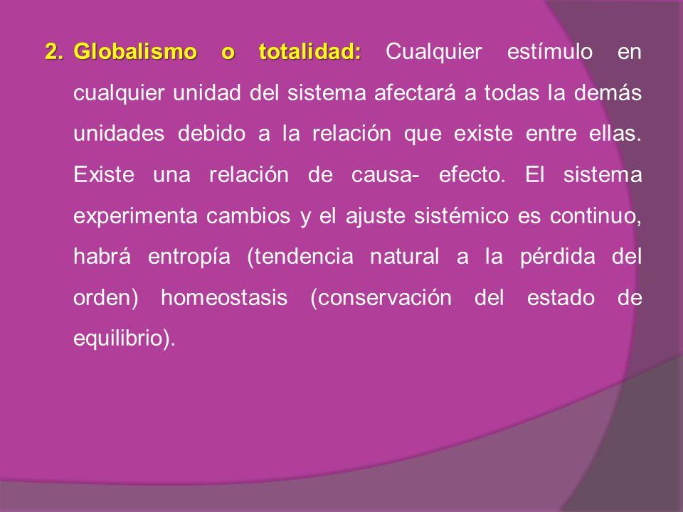2. Globalismo o totalidad: Cualquier estímulo en cualquier unidad del sistema afectará a todas la demás unidades debido a la relación que existe entre ellas.