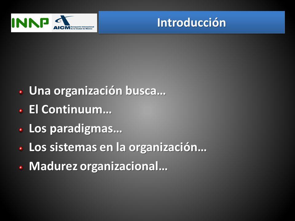 Introducción Una organización busca… El Continuum… Los paradigmas… Los sistemas en la organización…