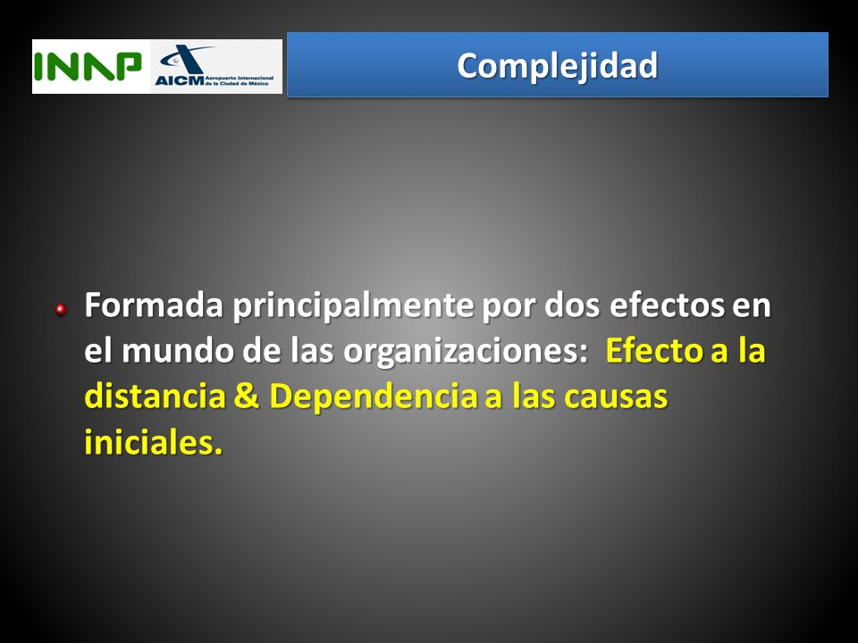 Complejidad Formada principalmente por dos efectos en el mundo de las organizaciones: Efecto a la distancia & Dependencia a las causas iniciales.