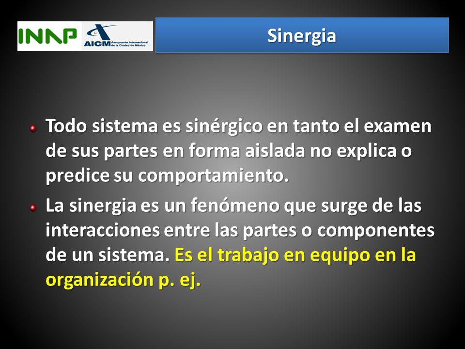 Sinergia Todo sistema es sinérgico en tanto el examen de sus partes en forma aislada no explica o predice su comportamiento.
