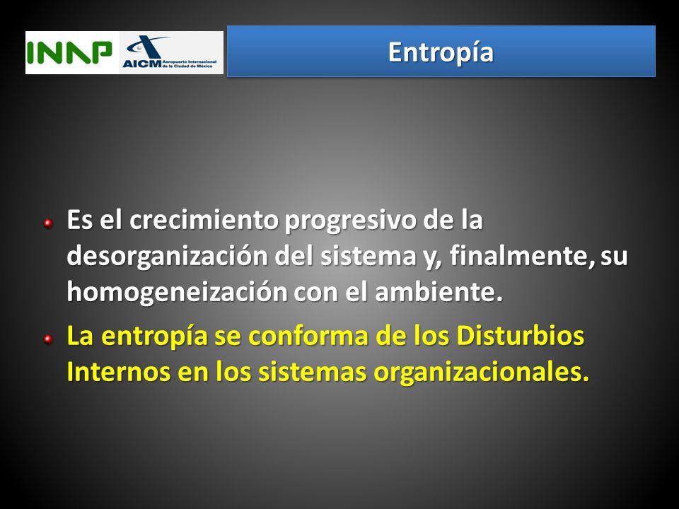 Entropía Es el crecimiento progresivo de la desorganización del sistema y, finalmente, su homogeneización con el ambiente.