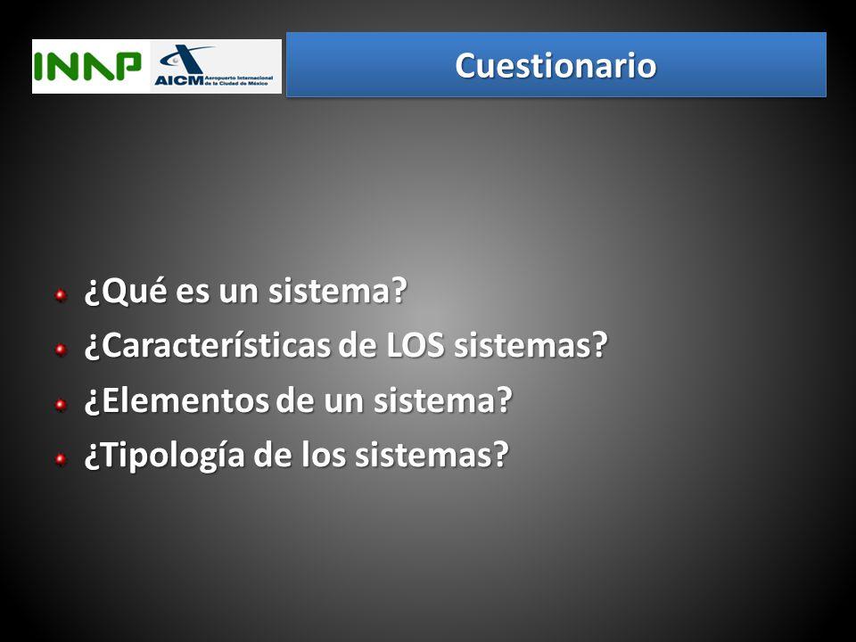 Cuestionario ¿Qué es un sistema. ¿Características de LOS sistemas.