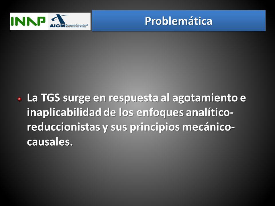 Problemática La TGS surge en respuesta al agotamiento e inaplicabilidad de los enfoques analítico-reduccionistas y sus principios mecánico-causales.