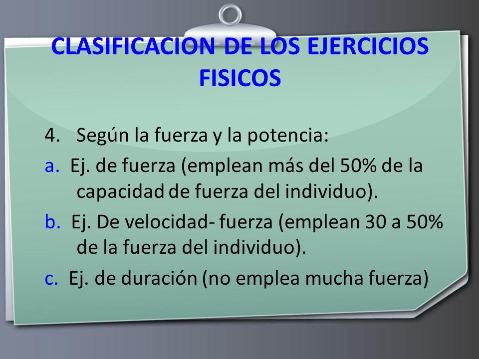 CLASIFICACION DE LOS EJERCICIOS FISICOS