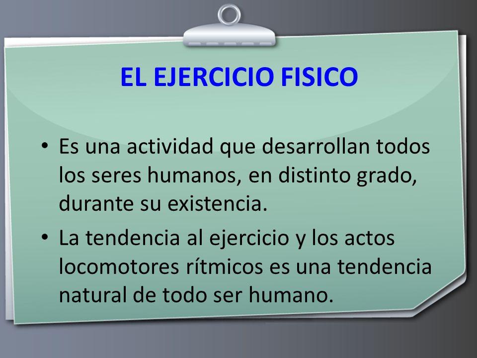 EL EJERCICIO FISICO Es una actividad que desarrollan todos los seres humanos, en distinto grado, durante su existencia.