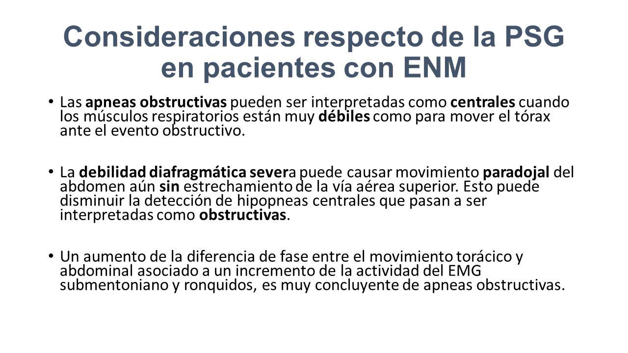Consideraciones respecto de la PSG en pacientes con ENM