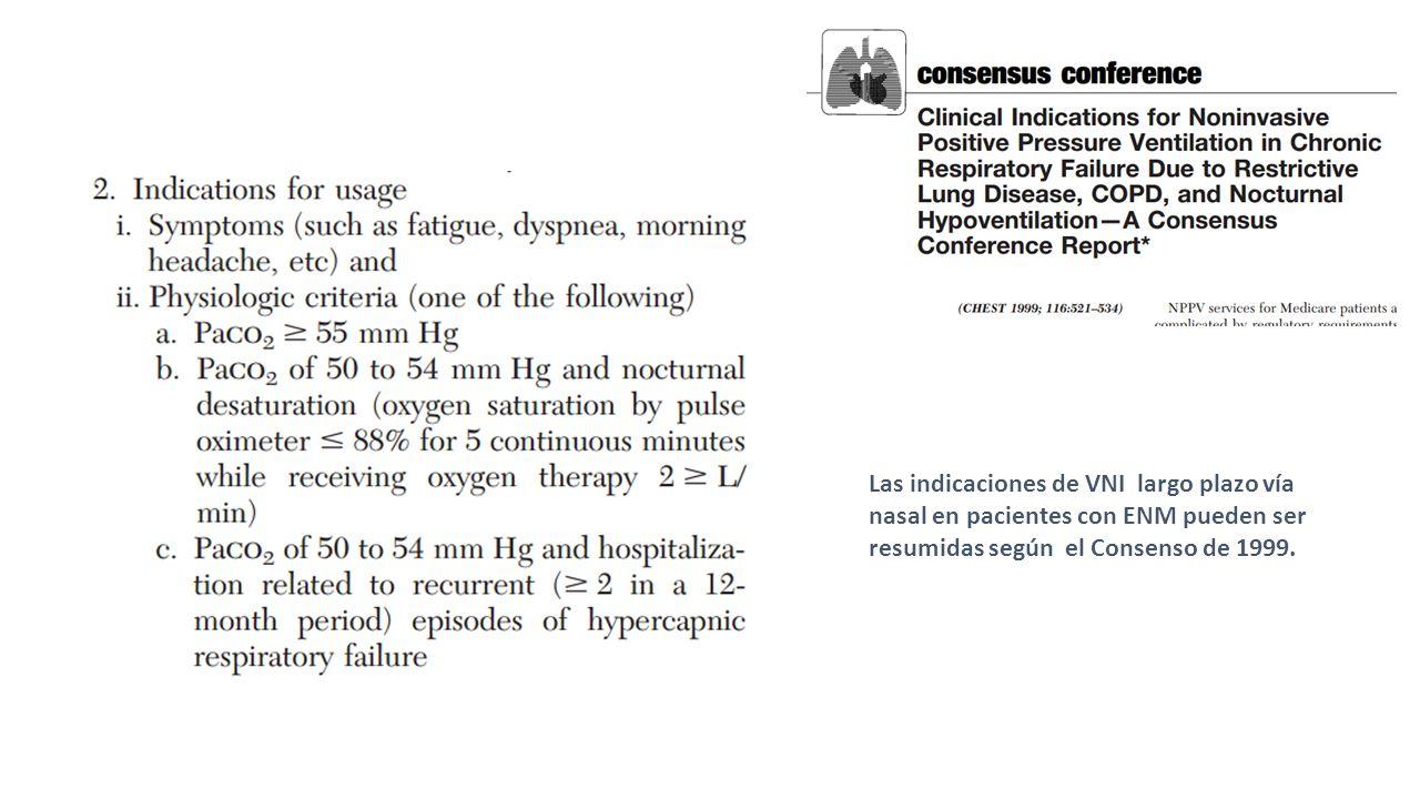 Las indicaciones de VNI largo plazo vía nasal en pacientes con ENM pueden ser resumidas según el Consenso de 1999.