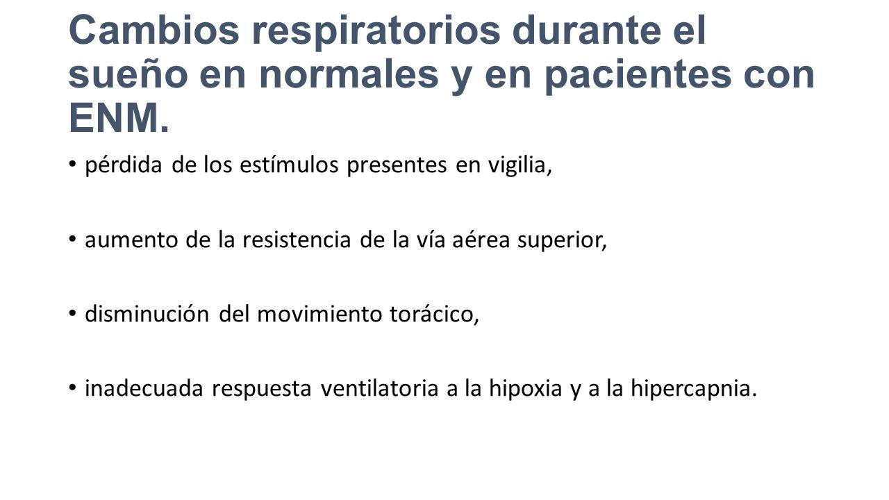 Cambios respiratorios durante el sueño en normales y en pacientes con ENM.