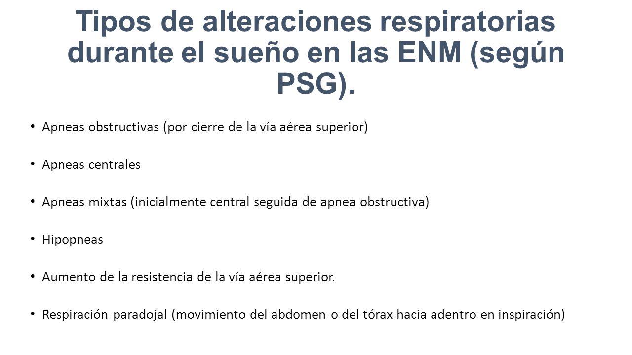 Tipos de alteraciones respiratorias durante el sueño en las ENM (según PSG).