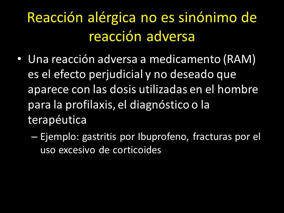 Reacción alérgica no es sinónimo de reacción adversa