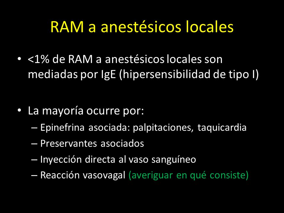 RAM a anestésicos locales