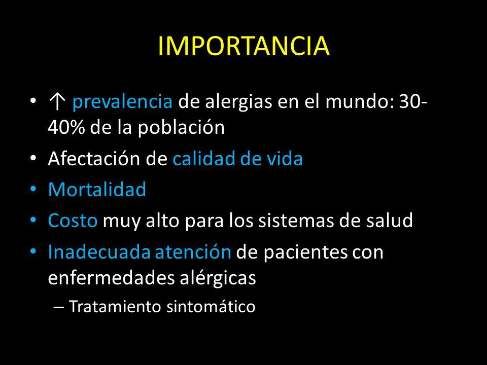 IMPORTANCIA ↑ prevalencia de alergias en el mundo: 30-40% de la población. Afectación de calidad de vida.