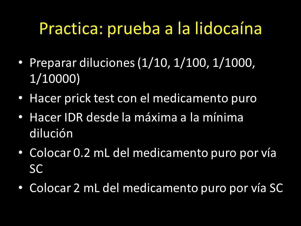 Practica: prueba a la lidocaína