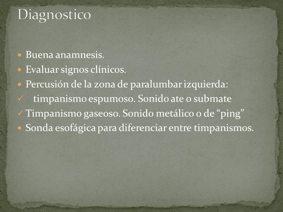 Diagnostico Buena anamnesis. Evaluar signos clínicos.