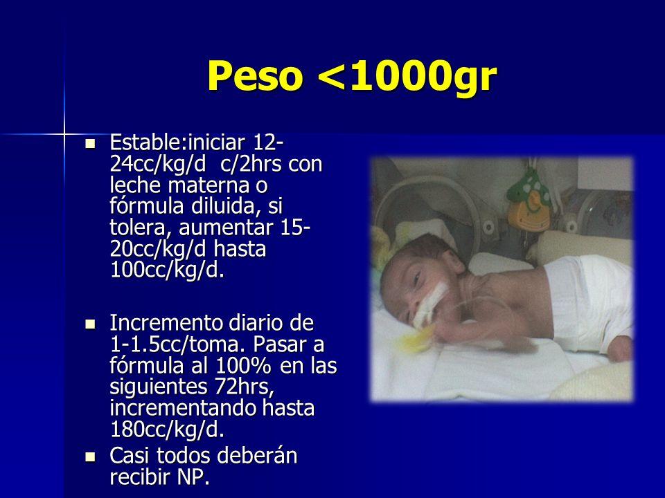 Peso <1000gr Estable:iniciar 12-24cc/kg/d c/2hrs con leche materna o fórmula diluida, si tolera, aumentar 15-20cc/kg/d hasta 100cc/kg/d.