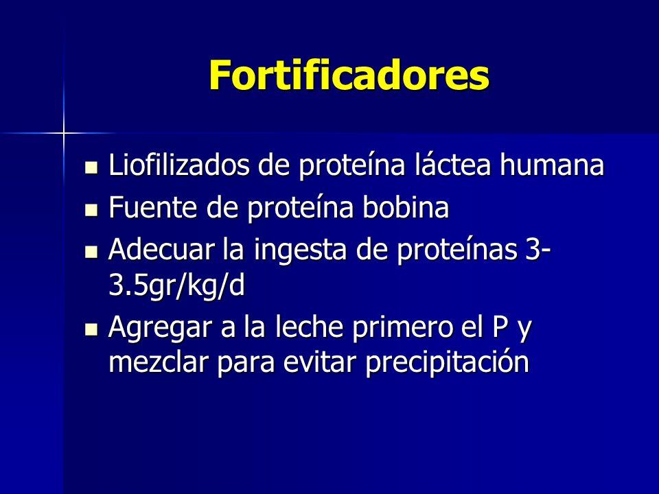 Fortificadores Liofilizados de proteína láctea humana