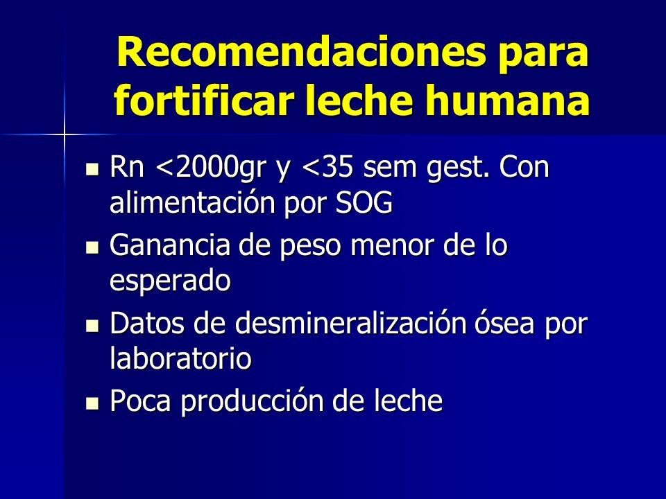 Recomendaciones para fortificar leche humana