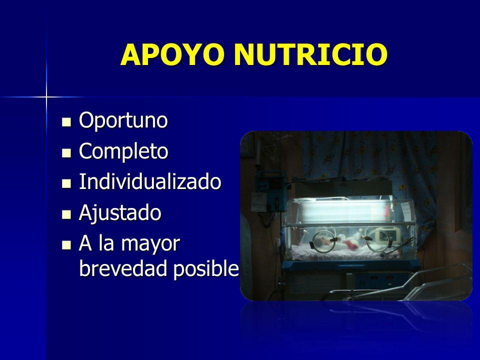 APOYO NUTRICIO Oportuno Completo Individualizado Ajustado