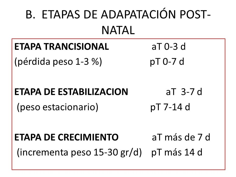 B. ETAPAS DE ADAPATACIÓN POST-NATAL