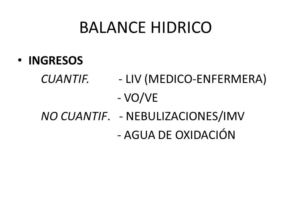 BALANCE HIDRICO INGRESOS CUANTIF. - LIV (MEDICO-ENFERMERA) - VO/VE