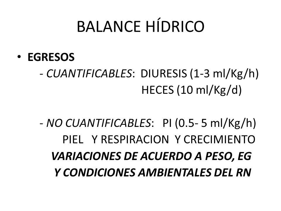 BALANCE HÍDRICO EGRESOS - CUANTIFICABLES: DIURESIS (1-3 ml/Kg/h)