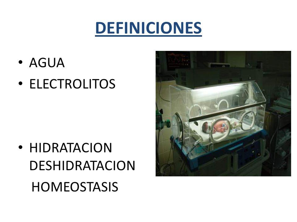 DEFINICIONES AGUA. ELECTROLITOS. HIDRATACION DESHIDRATACION.
