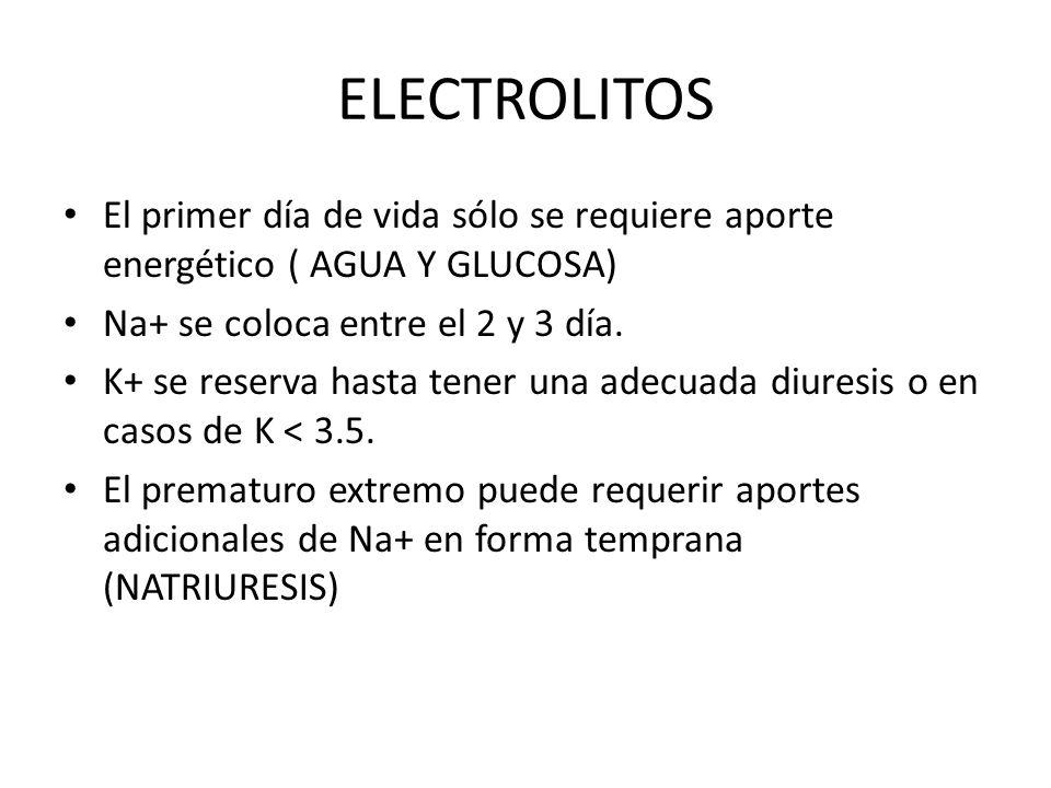 ELECTROLITOS El primer día de vida sólo se requiere aporte energético ( AGUA Y GLUCOSA) Na+ se coloca entre el 2 y 3 día.