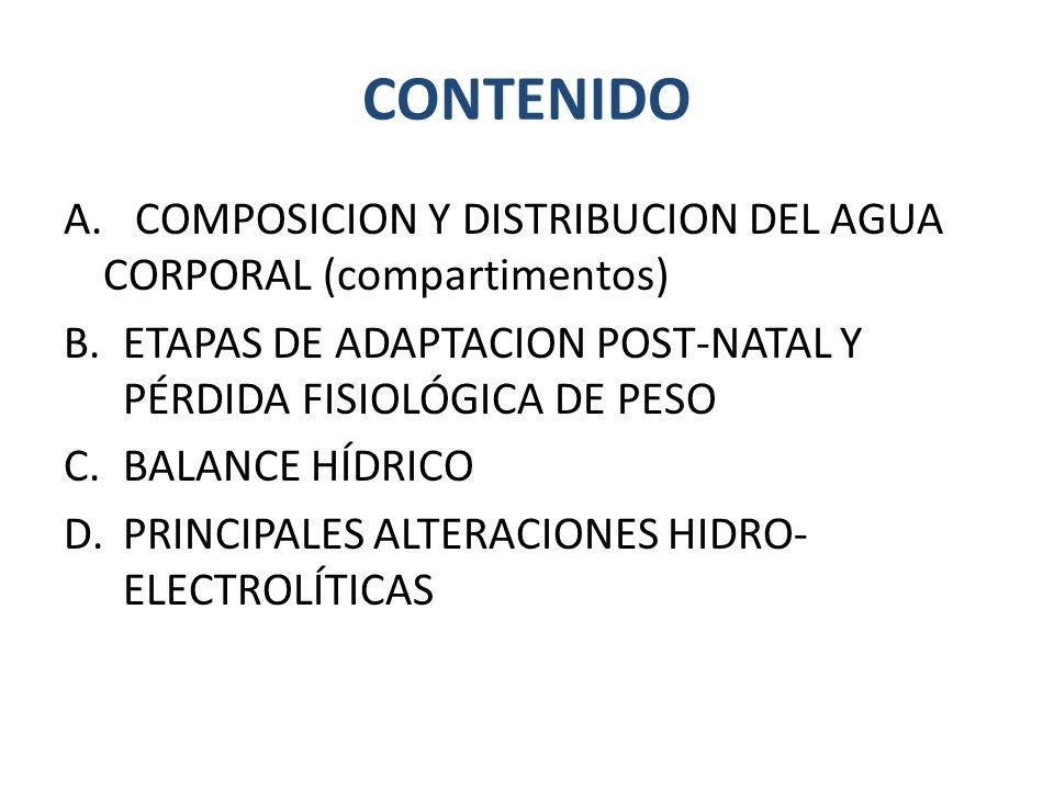 CONTENIDO A. COMPOSICION Y DISTRIBUCION DEL AGUA CORPORAL (compartimentos) ETAPAS DE ADAPTACION POST-NATAL Y PÉRDIDA FISIOLÓGICA DE PESO.