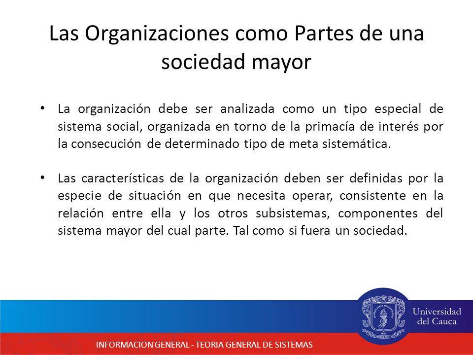 Las Organizaciones como Partes de una sociedad mayor