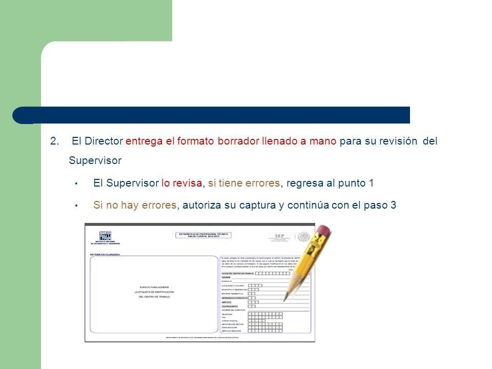 2. El Director entrega el formato borrador llenado a mano para su revisión del Supervisor