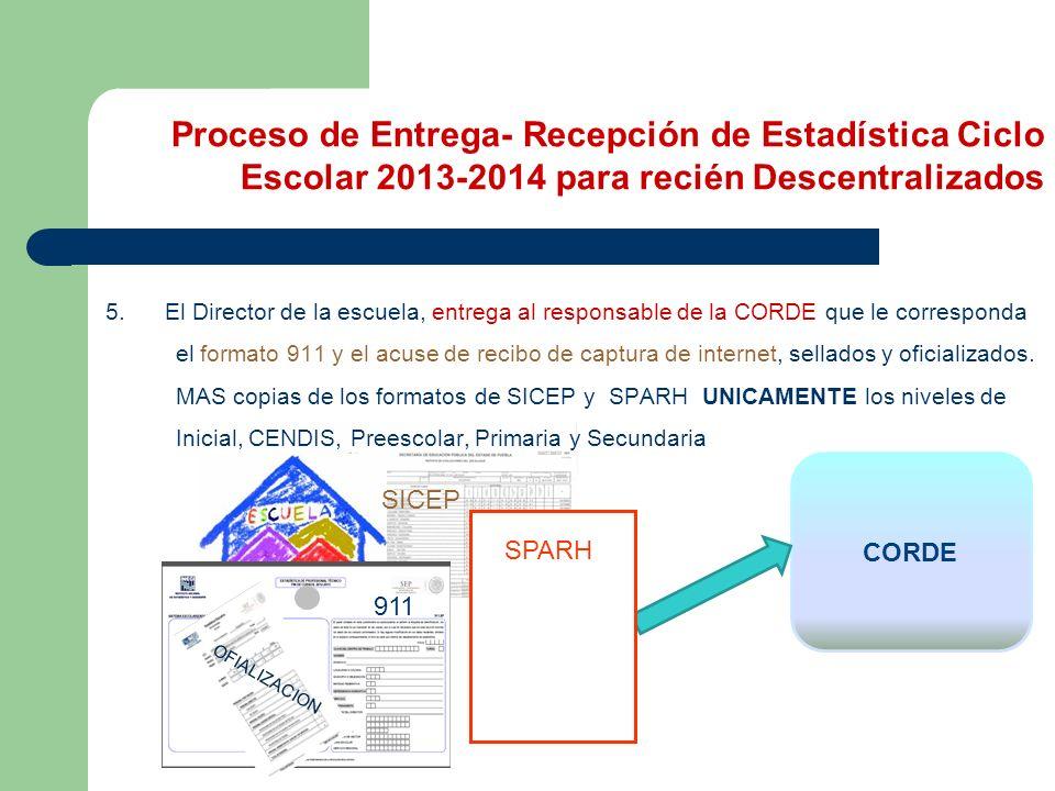 Proceso de Entrega- Recepción de Estadística Ciclo Escolar 2013-2014 para recién Descentralizados