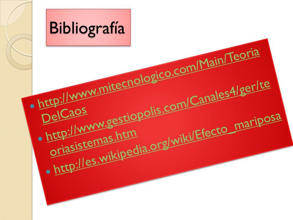 Bibliografía http://www.mitecnologico.com/Main/Teoria DelCaos